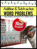 ADDITION and SUBTRACTION Word Problems Up to 20 CHRISTMAS TASK CARDS for Autism