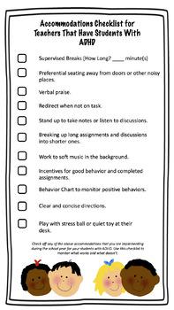 ADHD Accommodations Checklist