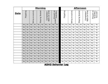 ADHD Behavior Log