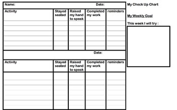 ADHD/ Daily/Weekly Self Check up Chart for prompts and work completion