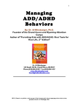 ADHD Tools for Teachers and Parents