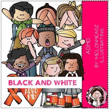 ADHD clip art - BLACK AND WHITE- by Melonheadz