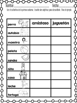 ADJECTIVE ACTIVITY PACK in SPANISH