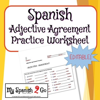 Adjective Agreement Practice Worksheet By My Spanish 2 Go Tpt