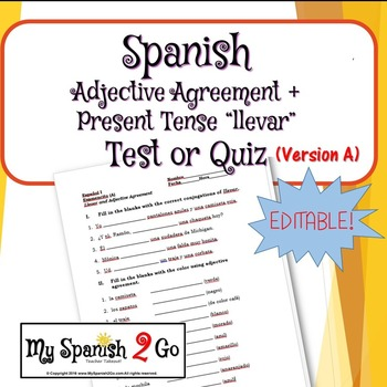 Adjective Agreement Test Or Quiz Version A By My Spanish 2 Go Tpt