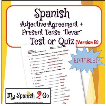 ADJECTIVE AGREEMENT:  Test or Quiz B