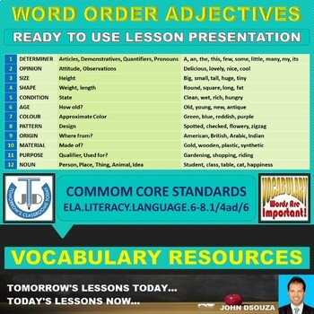 ADJECTIVE ORDER: READY TO USE LESSON PRESENTATION