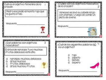ADJECTIVE TASK CARDS IN SPANISH