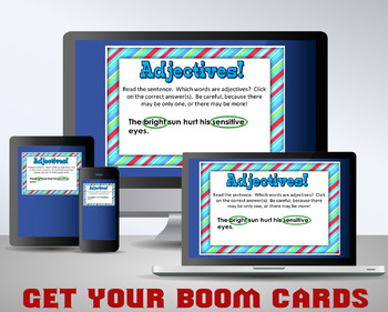 ADJECTIVES Task Cards PLUS 24 Digital Task Cards / Interactive BOOM Cards!
