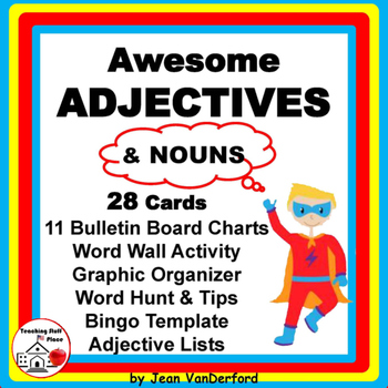 ADJECTIVES and NOUNS | TASK CARDS | BB POSTERS | ♥ SCOOT |