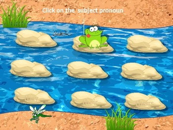 ADJECTIVES AND PRONOUNS. Frog game. Grammar. Power Point