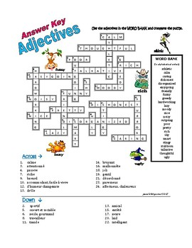 ADJECTIVES - CROSSWORD PUZZLE (FRENCH-ENGLISH)