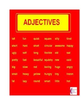 ADJECTIVES L.1.1.F Common Core Language ELA Worksheets L.1.1.F