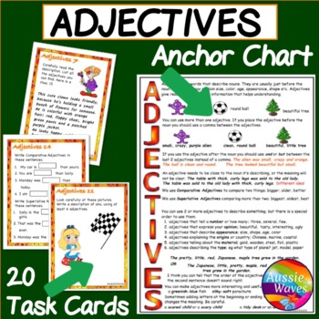 ADJECTIVES Task Cards and Anchor Chart; Teaching Parts of Speech