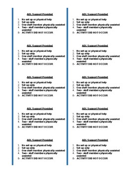 ADL Coding and Self Performance Namebadge Reference Cards