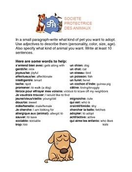 ADOPTER LES ANIMAUX French Adjectives and Animals