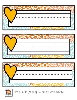 ADORABLE Heart & Patterned Name Tags {FREEBIE!}
