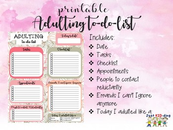 ADULTING TO DO LIST