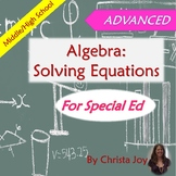 ADVANCED Algebra Unit for Special Education with lesson plans