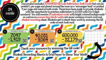 ADVANCED QR Code Subtraction Scavenger Hunt-Task Cards