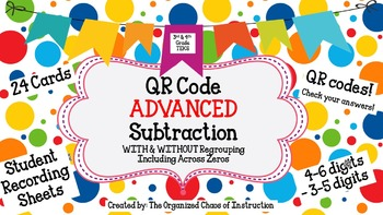 ADVANCED QR Code Subtraction Scavenger Hunt-Task Cards