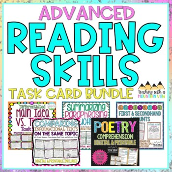 ADVANCED Reading Skills Task Card Bundle | Distance Learning | Google Classroom