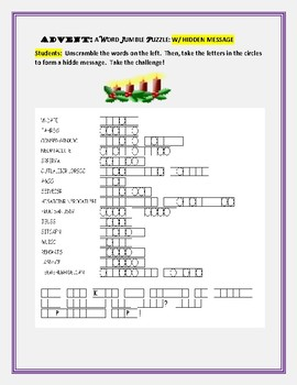 ADVENT: A VOCABULARY JUMBLE PUZZLE: TAKE THE CHALLEGE