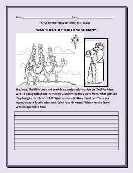 ADVENT WRITING PROMPT: WHO WAS THE 4th WISE MAN?
