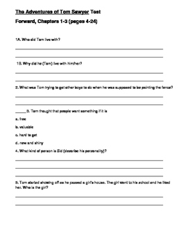 THE ADVENTURES OF TOM SAWYER- QUESTIONS AND TEST-ADAPTED VERSION