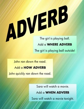 ADVERB: Learn how to add when, where and how adverbs to sentences!