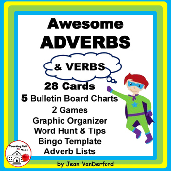 ADVERBS | Task Cards | BB Posters | Charts | ♥ Bonus | Gr. 3-4-5 | CORE