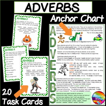 ADVERBS Task Cards and Anchor Chart Teaching Parts of Speech