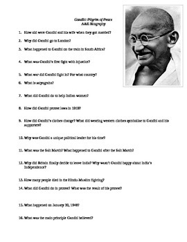 A&E Biography: Gandhi, Pilgrim of Peace Viewing Guide