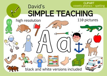A,E,I,O,U Vowels clipart bundle for spelling and phonics