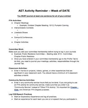 AET Reminder Handout