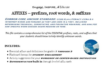 AFFIXES: Flashcards for prefixes, root words, and suffixes