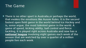 AFL / Aussie Rules Overview PPT