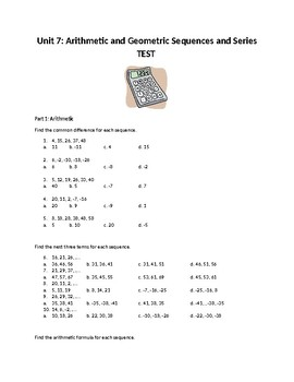 AFM Math Sequences and Series Unit Test