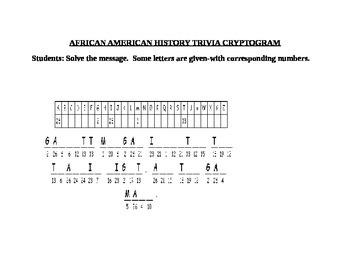 AFRICAN AMERICAN HISTORY CRYPTOGRAM