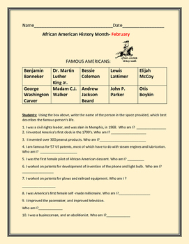 AFRICAN AMERICAN HISTORY MONTH QUIZ, OR HOMEWORK PROJECT