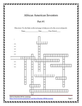 AFRICAN AMERICAN INVENTORS CROSSWORD PUZZLE PART #1