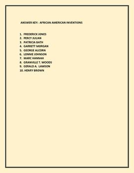 AFRICAN AMERICAN INVENTORS QUIZ/ACTIVITY