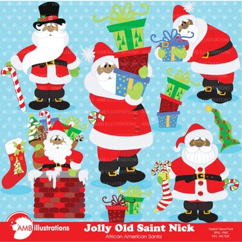 Christmas Clipart, African American Santa Clipart AMB-559