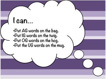 AG, IG, OG & UG Word Study Sort and Activities