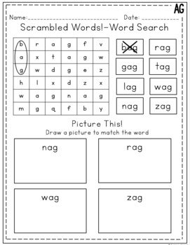AG Word Family Activities and Worksheets *NO PREP* by Ginger Lettering
