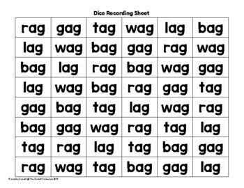 AG Word Family Dice Games for Centers or Small Groups