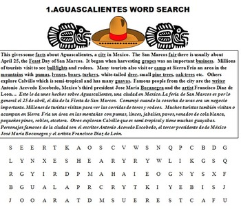 AGUASCALIENTES (MEXICO, SOC. STUDIES, READING FUN, WRITING, SPANISH, CCSS)