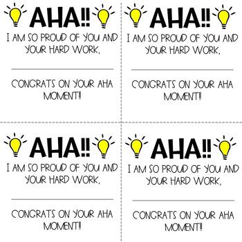 AHA! Moment Congratulations Cards - Printables