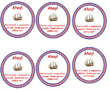 AHOY - Pirate Theme Chips Ahoy Gift Tags / Parent Gift / Nautical