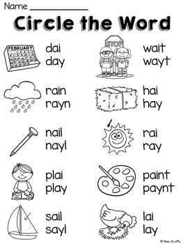 Worksheets Ai And Ay Worksheets ai ay worksheets and activi by miss giraffe teachers pay activities no prep